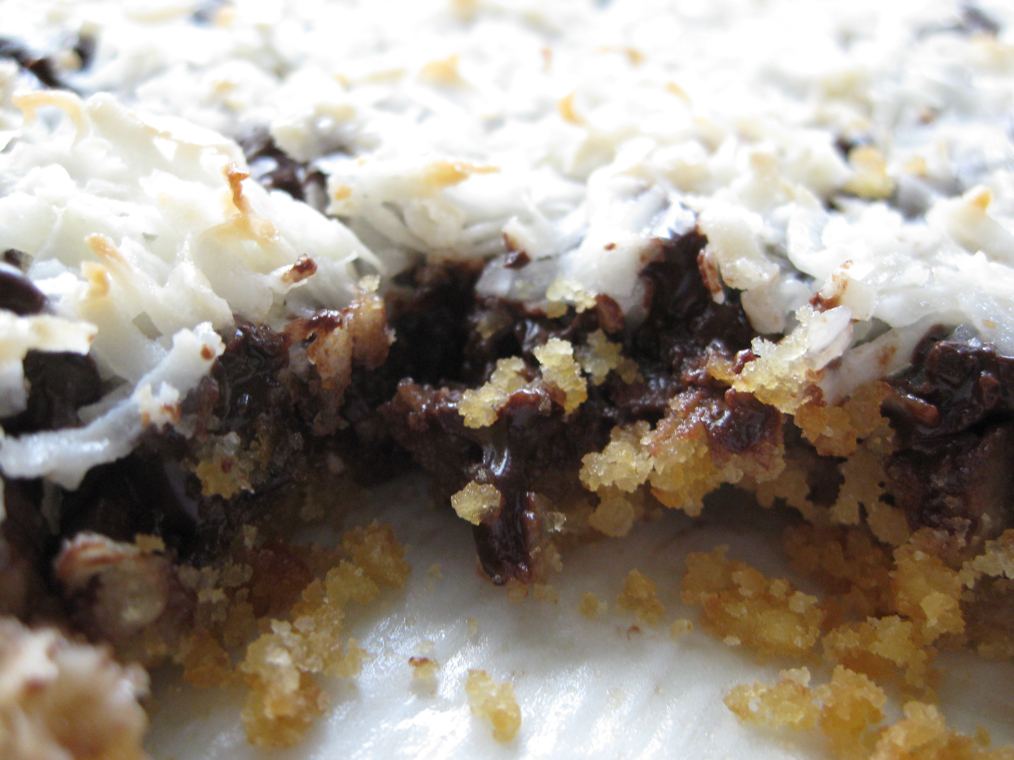 7 Layer Bars Eagle Brand http://pragmaticattic.wordpress.com/2010/04/22/dairy-free-vegan-7-layer-bars/