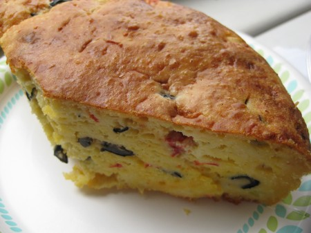 Roasted Red Pepper And Black Olive Quiche In A Loaf
