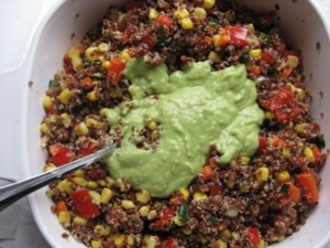 quinoa salad with avocado dressing